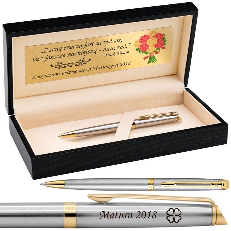 Długopis Waterman Hemisphere stalowy GT Grawer Drewniane pudełko