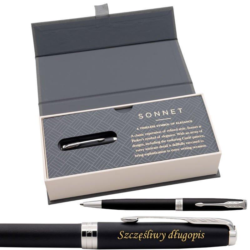 Parker Sonnet CT Długopis Czarny Mat w eleganckim etui Grawer