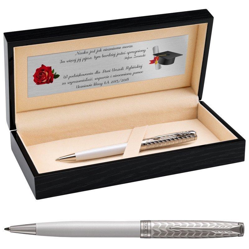 Parker Sonnet CT Długopis Metal&Pearl w eleganckim etui Dedykacja