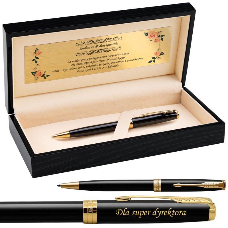Parker Sonnet GT Długopis Czarny Lacquer w drewnianym etui Grawer