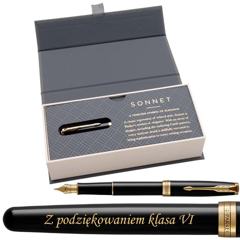 Parker Sonnet GT Pióro wieczne Czarny Lacquer w eleganckim etui Grawer