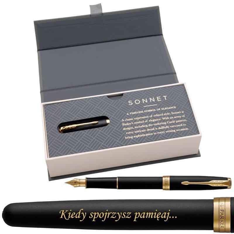 Parker Sonnet GT Pióro wieczne Czarny Mat w eleganckim etui Grawer