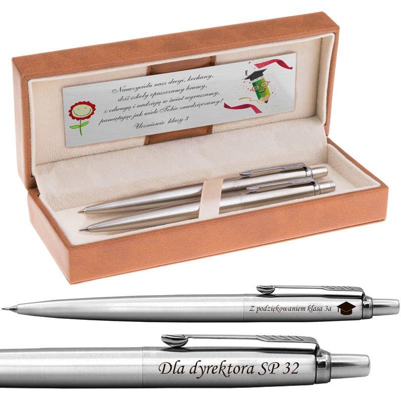 Zestaw Długopis i Ołówek Parker Jotter CT stalowy Grawer i Dedykacja
