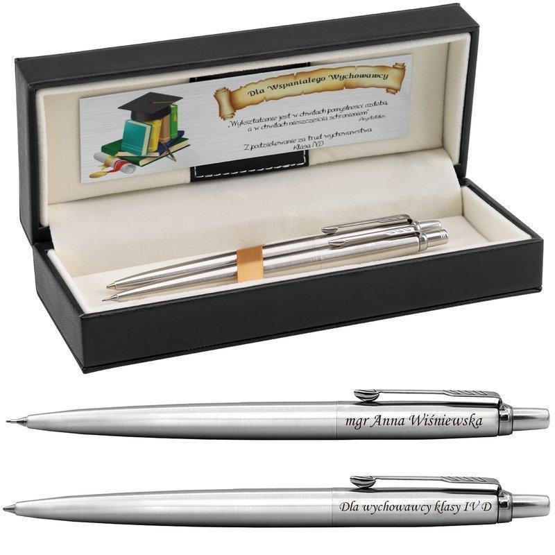 Zestaw Długopis i Ołówek Parker Jotter stalowe CT Etui z Grawerem