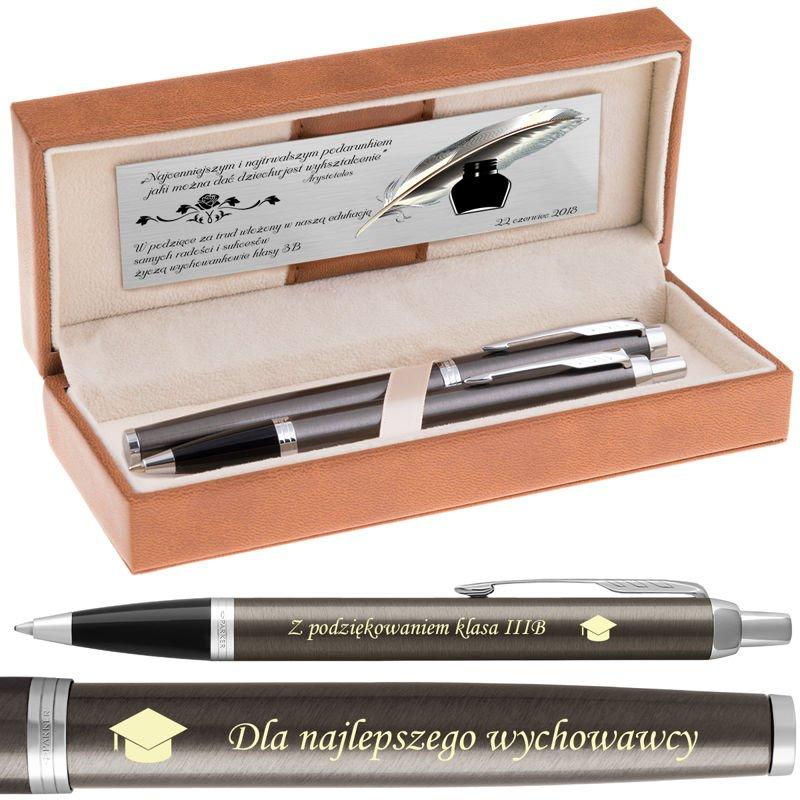 Zestaw Parker IM Długopis + Pióro Dark Espresso CT Grawer