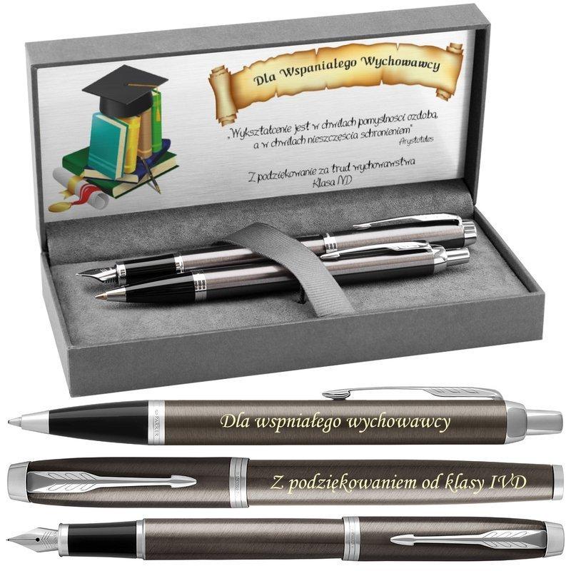 Zestaw Parker IM Długopis Pióro Dark Espresso CT z Grawerem