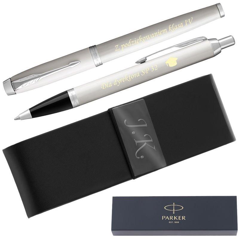 Zestaw Parker IM Pióro Wieczne + Długopis Białe CT  Etui Grawer