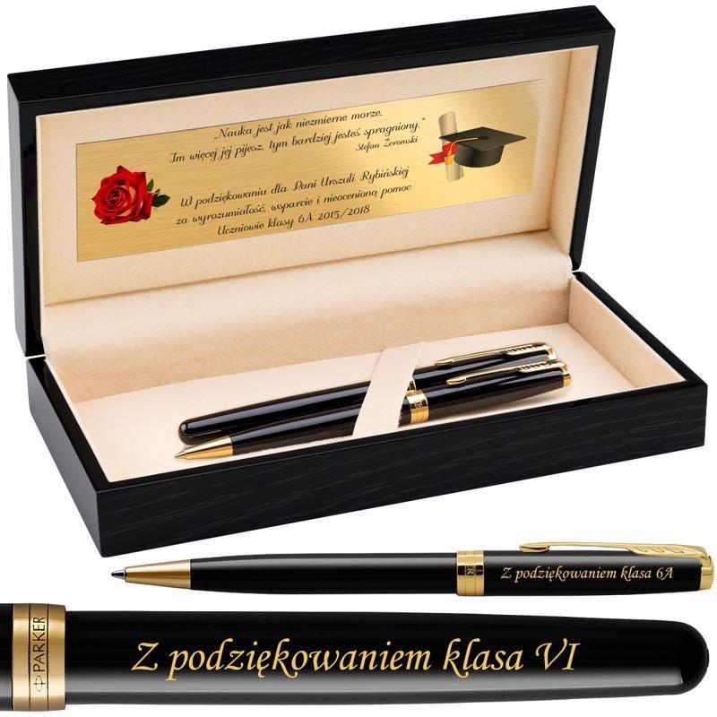 Zestaw Parker Sonnet GT Pióro+Długopis Czarny Lacquer w drewnianym etui Grawer