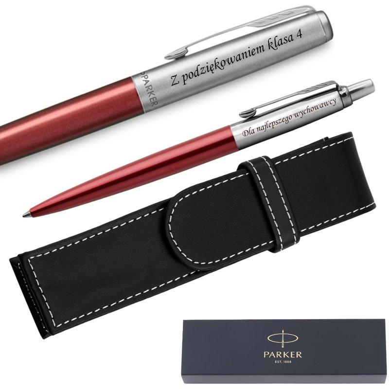 Zestaw Pióro Długopis Jotter Parker Czerwone CT Etui Grawer