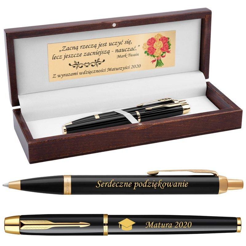 Zestaw Pióro Długopis Parker IM Czarny GT Drewniane Etui Grawer