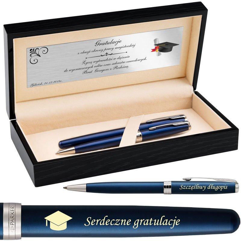 Zestaw Pióro i Długopis Parker Sonnet CT Blue Lacquer w drewnianym etui Parker Grawer