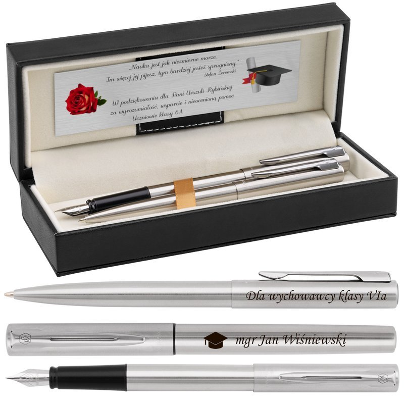Zestaw Pióro wieczne Długopis Waterman Graduate stalowy CT z Grawerem