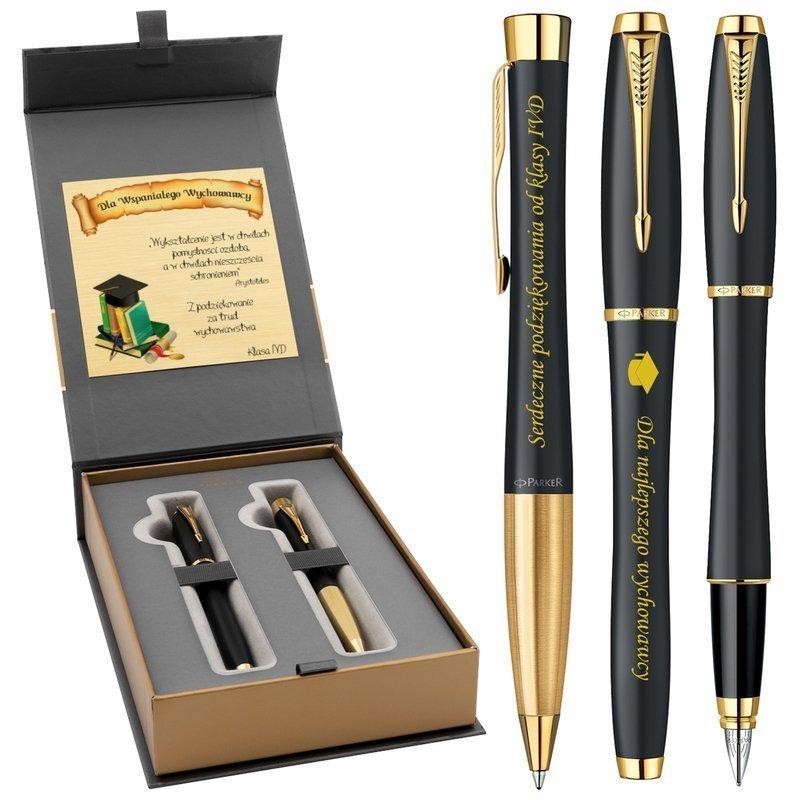 Zestaw Pióro wieczne i Długopis Parker Urban Czarny z Grawerem w Etui