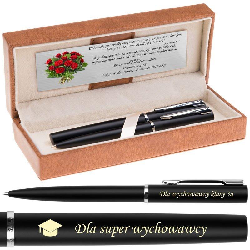 Zestaw Waterman Pióro + Długopis Allure Czarne CT Grawer