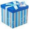 Pudełko na prezent niebieskie w paski M 1