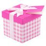 Pudełko na prezent różowa kratka XS 1