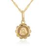 Złoty medalik z łańcuszkiem próba 585 z wizerunkiem Matki Boskiej Chrzest Komunia Bierzmowanie GRAWER niebieska kokardka 7